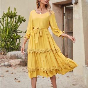 Boho lace trim belted A line dress